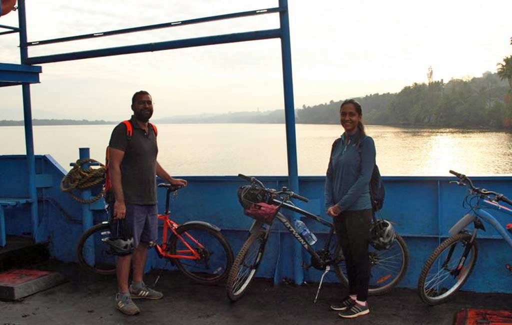 bicycle on ferry, goa